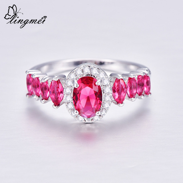 Lingmei Wedding Bridal Oval Cut Red & Blue & White Zircon Silver Color Ring Size 6-9 For Women Engagement Jewelry Valentine Day