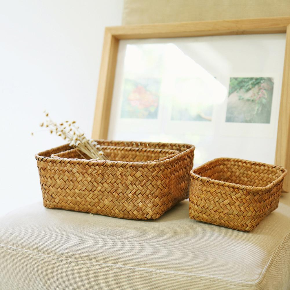 Handmade Straw Dried Flower Fruit Pot Basket Rattan Box Candy Earphone Organizer Seagrass Belly Garden Decor Pot Planter Basket