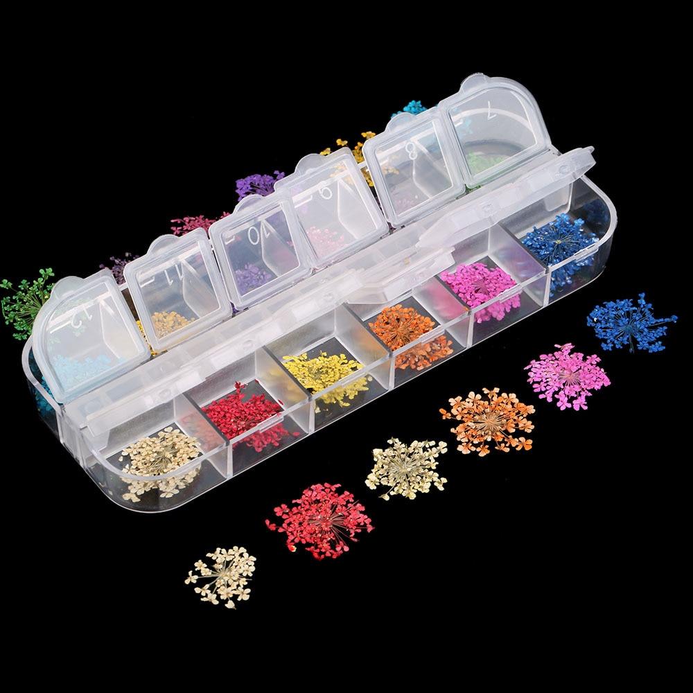 1 коробка сушеных цветов, листьев из УФ-смолы, украшение, натуральные Цветочные наклейки, 3D наклейки для сухой красоты ногтей, эпоксидная фор...