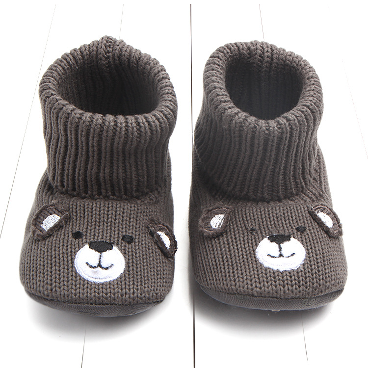 Winter Newborn Baby Knit Snow Boots Keep Warm Toddler Girls Cute Cartoon Bear Shoes First Walker Infant Boys Footwear