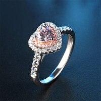 Schöne LIEBE HERZFORM Hochzeit valentinstag Geschenke 925 Sterling Silber Versprechen Ring Größe 6 7 8 9 Rosa Topazz Kunziite