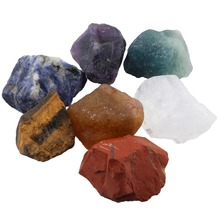 TUMBEELLUWA 7Pc/Set Healing Crystal 7 Chakra Stone Natural Raw Rough for Tumbling,Cabbing,Energy Reiki