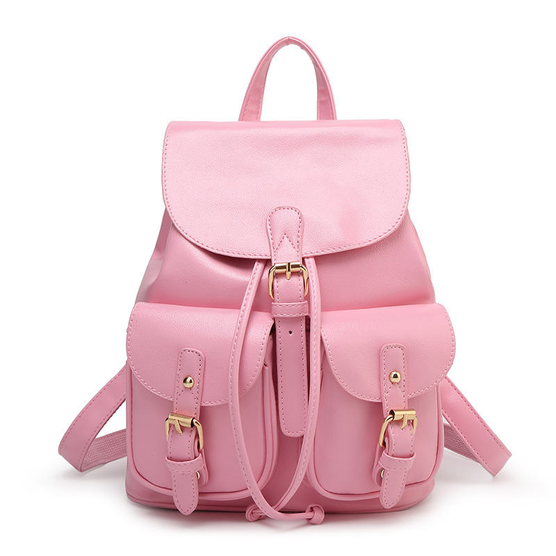 ФОТО 2016 New Women Leather Backpacks Bolsas Mochila Feminina Large Girls Schoolbag Travel Bag Solid Candy Color Rucksack WQ250
