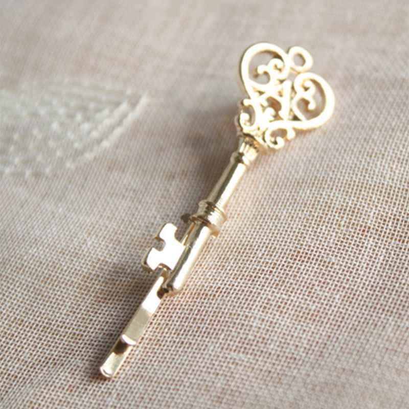 Pinzas para el cabello para mujer con forma de llave de fantasía y hueco minimalista aleación de Metal para chicas horquillas con brillo pulido y cola de caballo