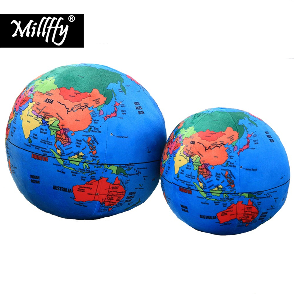 Dropshipping Millffy 1pcs Simulation Globe Earth World Map Plush Toy Pillow Cushion Baby Doll Puzzle Gift Boy Ball
