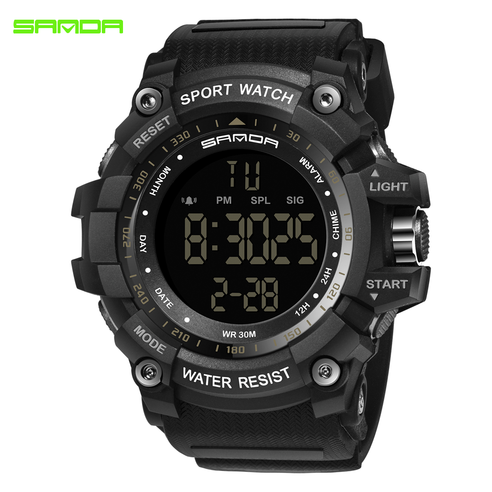 SANDA Digital Wristwatches Clock Military Waterproof Electronic Men's Sport for Army