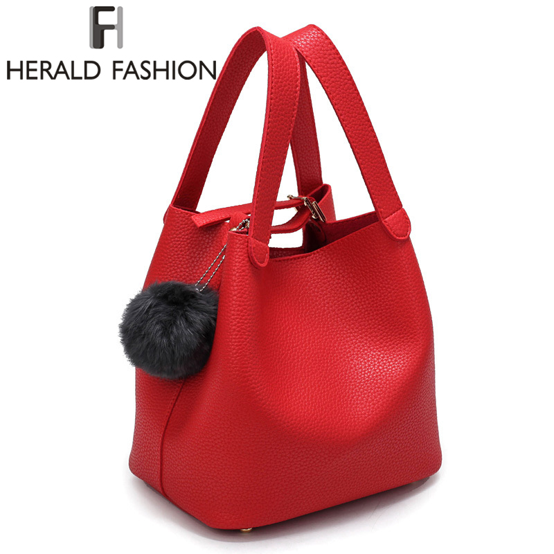 Herald Fashion Top-Handle Women Bags Fashion Pu Women's Leather Handbags Black Women Bag Tassel Fur Bag Ball Small Bucket Bags ellacey women bucket bags fox fur genuine leather handbags fur women bag socialite basket real leather small christmas tote bag