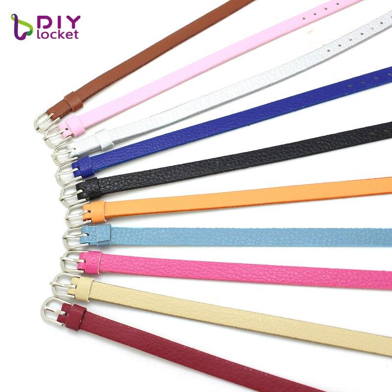 20pcs 8mm Leather Bracelet Litchi Grain PU Leather Wristband Bracelet Accessory Fit Slide Letters Charms LSBR03220