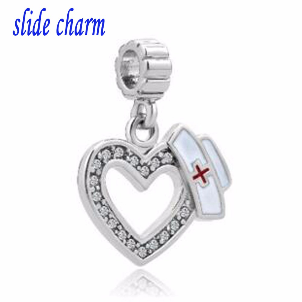 slide charm Free shipping Fit Pandora charm bracelets White Birthstones Plate Heart Love With Medical Logo Dangle Charms For