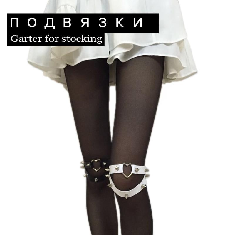 Buy Punk Cosplay Rock N Roll Bad Girlfriend Rivet Cross Leatherette Plus Size Garter Belt Sex Bondage Garter Holders