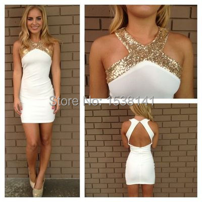 f1d1f6d41 2K17 Bling Sequins Criss-cross Neck Mini Party Simple Backless Straight  Tight Girls Homecoming Dresses