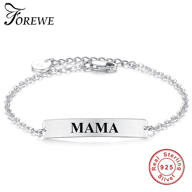 Customize Name Bracelet 925 Sterling Silver Mama Charm Bangles Personalized Custom Logo Letters Bracelets Women