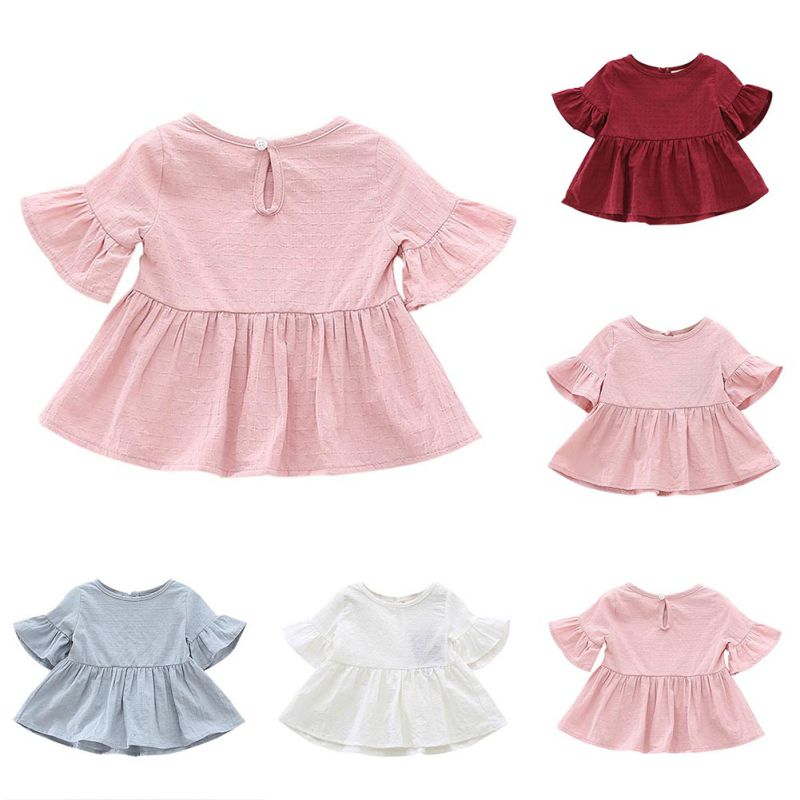 2018 Fashion Shirt for Girls Summer Autumn Lovely Solid Color Shirt - Ubrania dziecięce - Zdjęcie 6