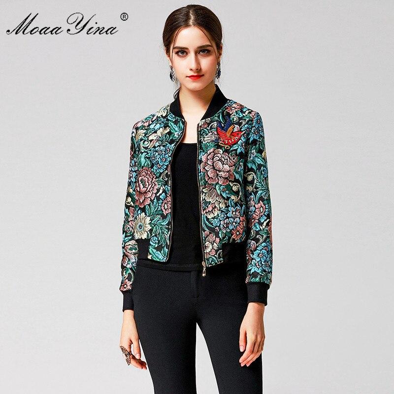 MoaaYina Fashion Designer Runway Coat Spring Women Long sleeve Zipper  Jacquard Lurex Rose Birdie Embroidery Casual Short Coat