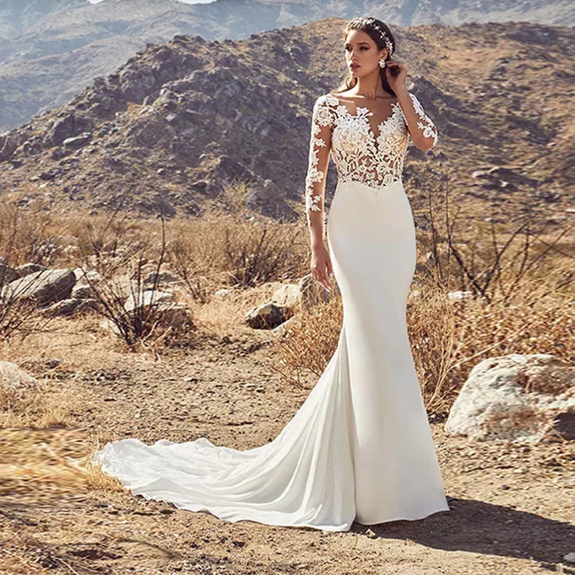 Sheer Scoop Neckline Long Sleeves Applique Nude Bodice Mermaid Wedding Dress Open Back Sexy Bridal Gowns Robe De Mariee Sirene