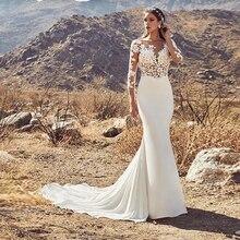 Sheer scoop decote mangas compridas apliques nude corpete sereia vestido de casamento aberto voltar sexy vestidos de noiva robe de mariee sirene