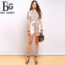 Baogarret Fashion Runway Summer Dress Women's Lantern Sleeve Gorgeous Print Beading Belted Elegant Mini Vintage Dress eyes print belted dress