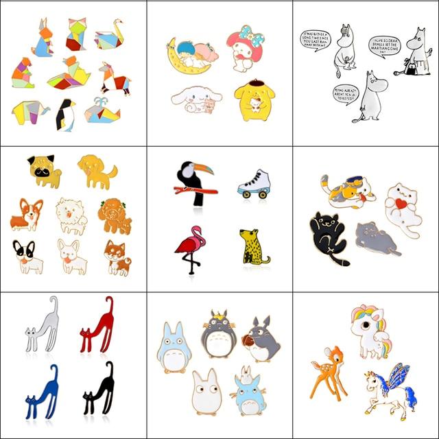 3-9 Pcs/Set Cartoon Enamel Animal Brooch Cat Kitten Dog Hippo Button Pins Shirt