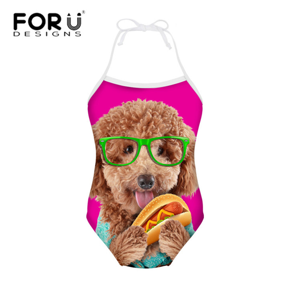FORUDESIGNS One Piece Swimsuit for Children Bikinis Cute Teddy Dog Printing Girls Swim Suit Bathing Suits Kids Beachwear Summer forudesigns one piece swimsuit for girls children swimwear friuts strawberry printing bathing suit baby bikinis kids swim suits