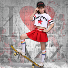 Jazz Dance Children Performance Costume Casual Hip Hop Stage Wear Letter Print Costumes Jazzy Stripe Kids Cloth