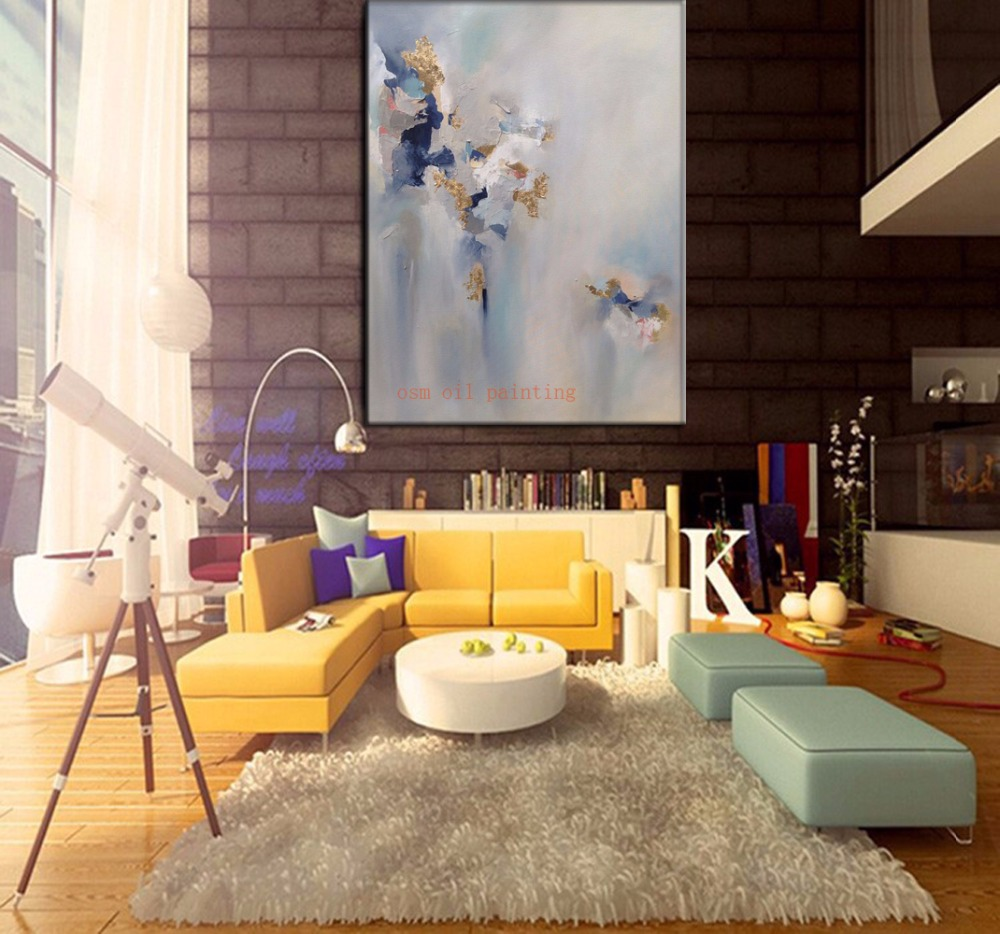 Free Shipping Handmade Modern Abstract Gold Oil Painting Hand On The Wall  For Living Room Decorative