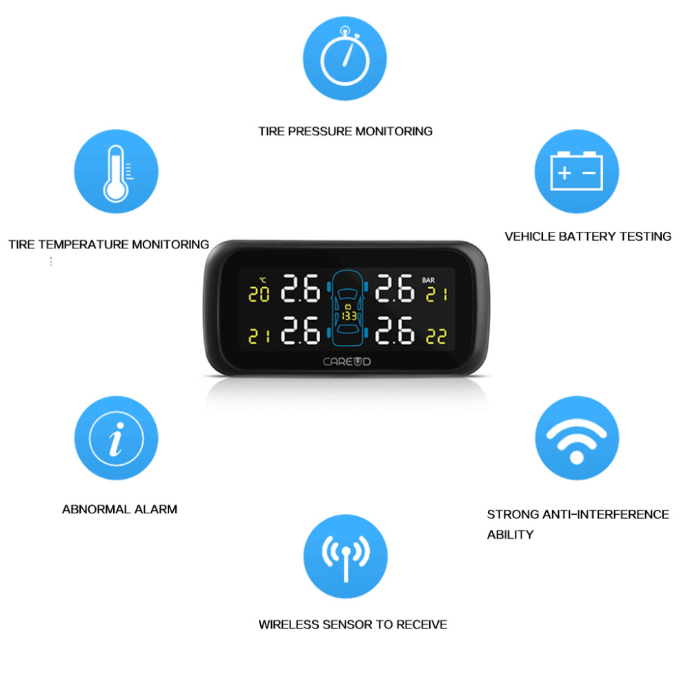 Ship from RU CAREUD U903 Auto Wireless TPMS Tire Pressure Monitoring System 4 External Replaceable Battery Sensors LCD Display