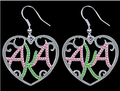 Alpha Kapp Alpha Sorority AKA  Sorority  pink and green  Crystal Heart Earrings