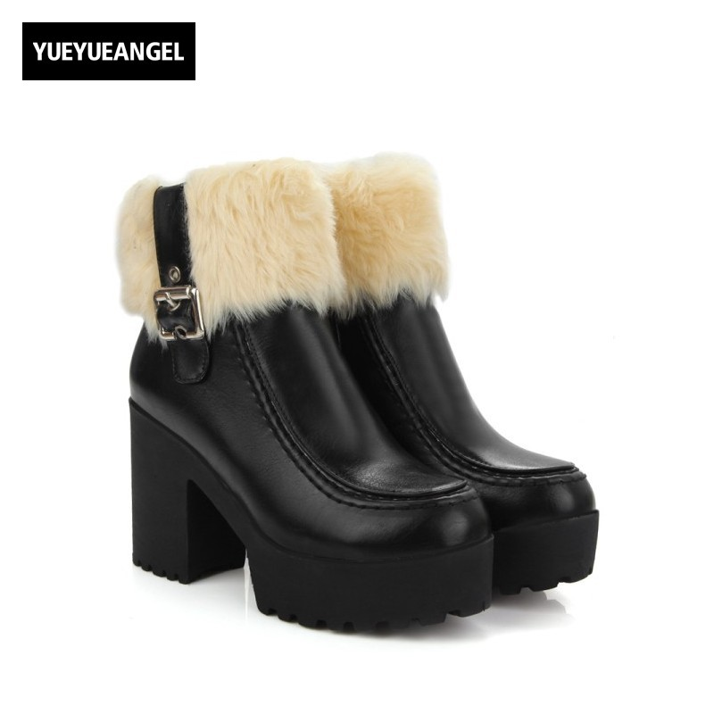 Winter New Warm Fur Trim Block Heel Pu Leather Snowshoes For Women Buckle Fashion Platform Womens Boots Side Zip Footwear Black