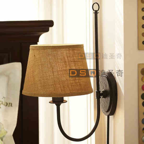 ФОТО American country cloth lamp simple personality living room bedroom Bedside Lamp Retro iron lamp