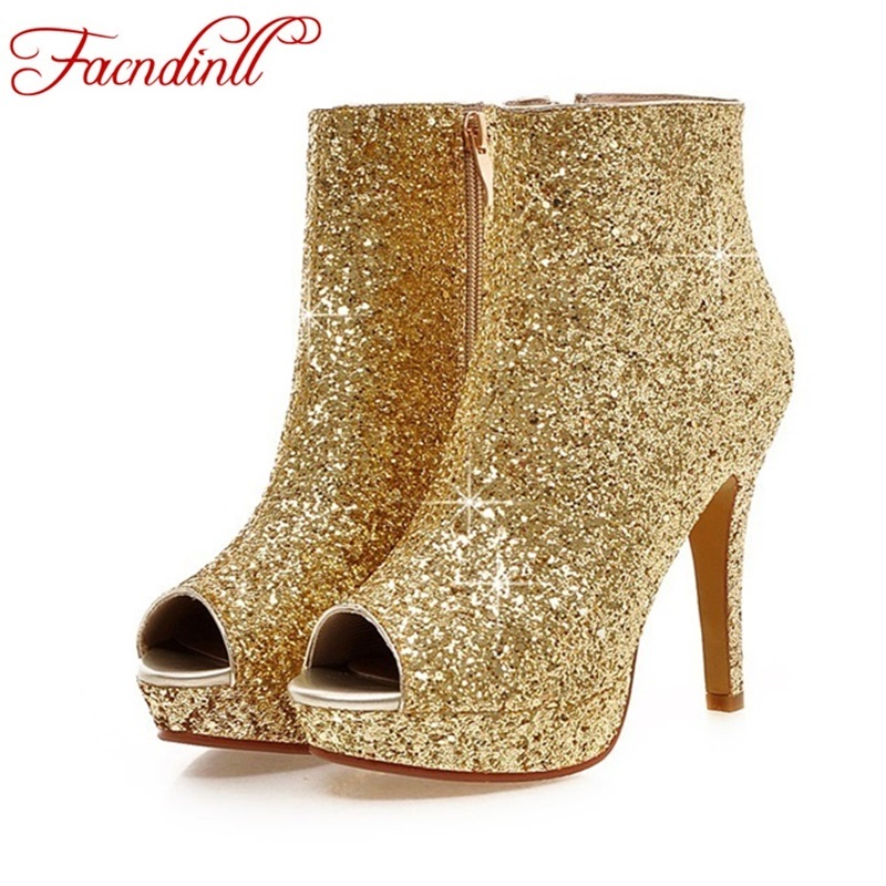 ФОТО New 2016 fashion sequined cloth high heels ankle boots female ankle boots summer women boots women's platform zip casual shoes