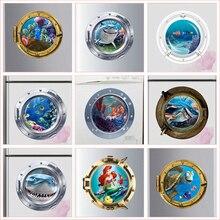 цена на 3d smiling big shark submarine portholes wall stickers for washing machine decoration diy peel and stick  wall decals art 025.