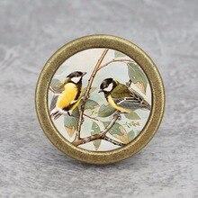Perillas de dos pájaros, Pomo de puerta de armario Vintage, tiradores de armario de muebles de arte DIY, herrajes de pomo de cómoda plata antigua de bronce