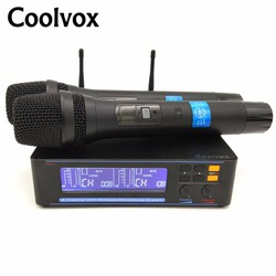 Coolvox UHF KTV Mic karaoke System with wireless microphone Mic System with 2 Handheld Mic Transmitter dynamic CV-309