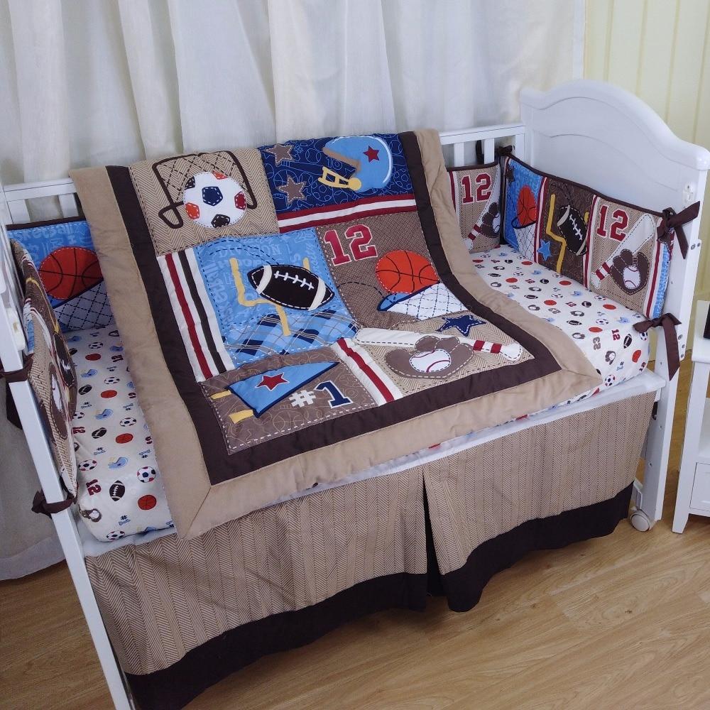 4pcs new design bedding set for BOY-quilt, crib sheet, crib skirt, bumpers baseball pattern4pcs new design bedding set for BOY-quilt, crib sheet, crib skirt, bumpers baseball pattern