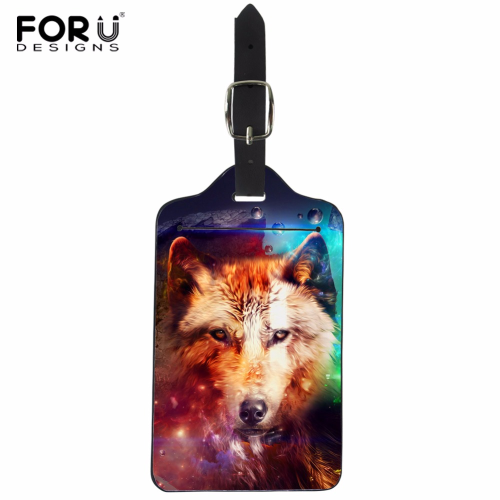 FORUDESIGNS PU Travel Luggage Label Straps Suitcase Luggage Tags Wolf Design Baggage Suitcase Card Tag Travel Accessories