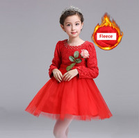 Dress For Girls Lace Pearls Fleece Princess Party Long Sleeve Dress Carnival Costumes Age 2 3