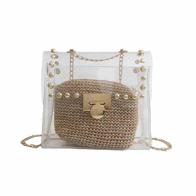 Emarald Clear Plastic Handbags 2018 Summer Women Messenger Bag Rivet Chains Shoulder Transparent Straw Purse