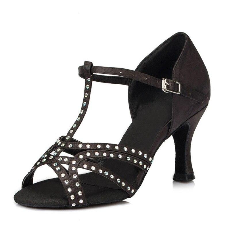 Rhinestone Satin Women Latin/Ballroom Dancing Shoes Salsa Sandal Female Samba Kizomba Tango Dance Shoes High Heel 7.5cm VA20