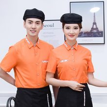 Summer Restaurant Waiter Uniform for Women Short Sleeve T-Shirt with Apron Waitress Uniform Hot Pot Staff Work Suit Kitchen Wear(China)
