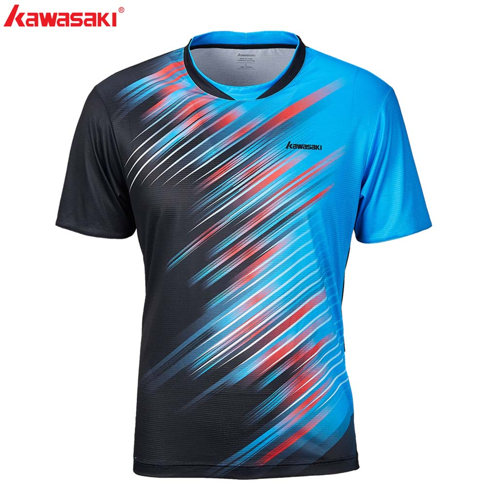 Kawasaki Brand Men Badminton Soccer T Shirts 100% Polyester Quick Dry Sportswear for Fitness Tennis Training Clothes ST-S1128