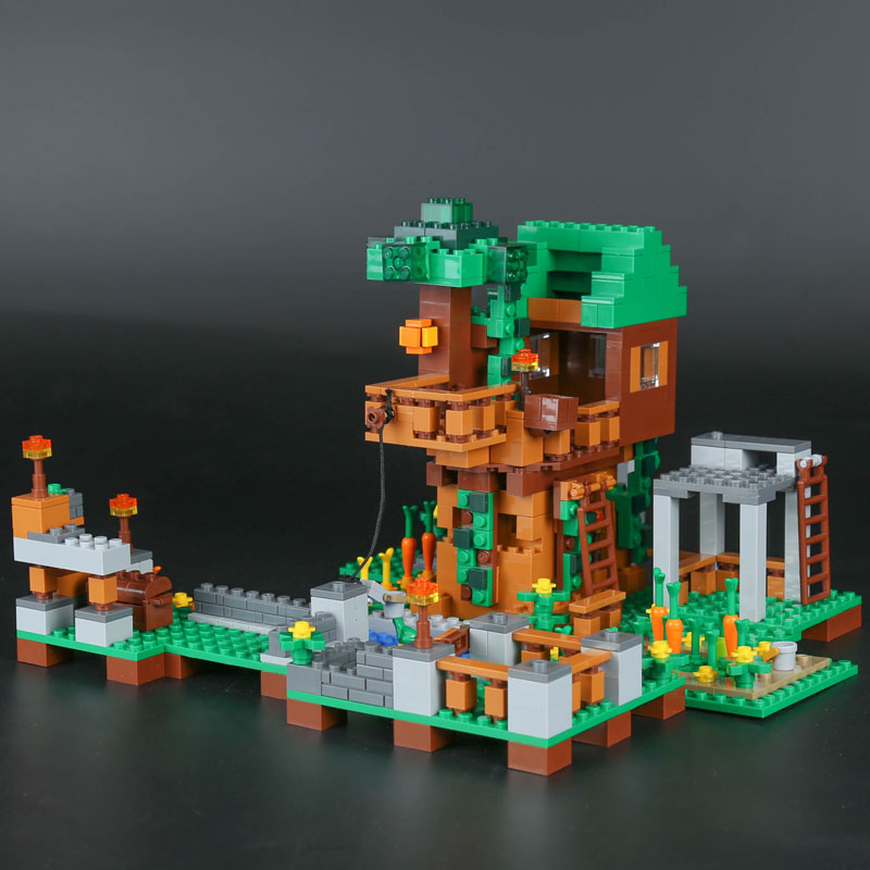 18031 1075pcs Tree House Square Model Building Blocks Minecraft compatible with legoING My World toys & hobbies for Children my world tree house brick scene series steve mini blocks model building blocks kit toys for children compatible 21125