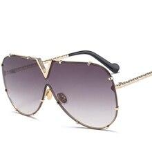 Emosnia Luxury Rivet Pilot Sunglasses Women Men 2018 New Ove