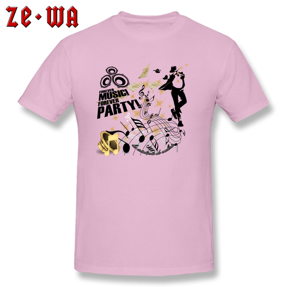 New Arrival Forever Music Party Printed Top T-shirts Round Collar 100% Cotton Men Tops Shirt Short Sleeve T Shirts ostern Day Forever Music Party pink