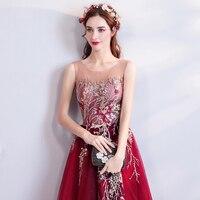 Бисер вышивка красный 2018 Новый Для женщин элегантные длинные платья вечерние выпускных вечеров для Gratuating Дата церемонии гала вечера платья