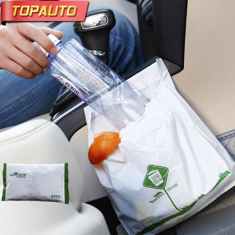 TopAuto 15pcs Disposable Environmental Car Garbage Bag 2 sizes Car Trash Bin Cleaner Rubbish Organizer Car Styling Accessories