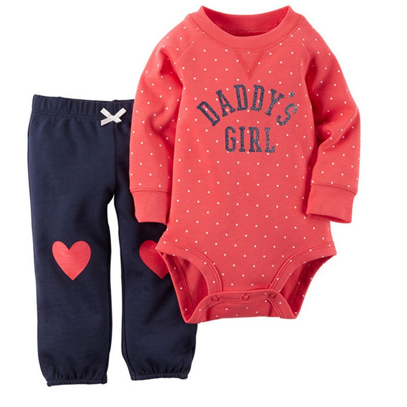 511b7ba03b05 Baby Girl Clothes Red Cotton Bodysuit   Pants Set Baby Clothing Set ...