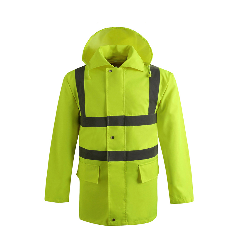 Reflective Raincoat Waterproof Jacket Detachable Cap long Sleeve Safety Clothing V82919 extended hong kong style oxford cloth long sleeve raincoat warning reflective waterproof outdoor overalls many pockets printable