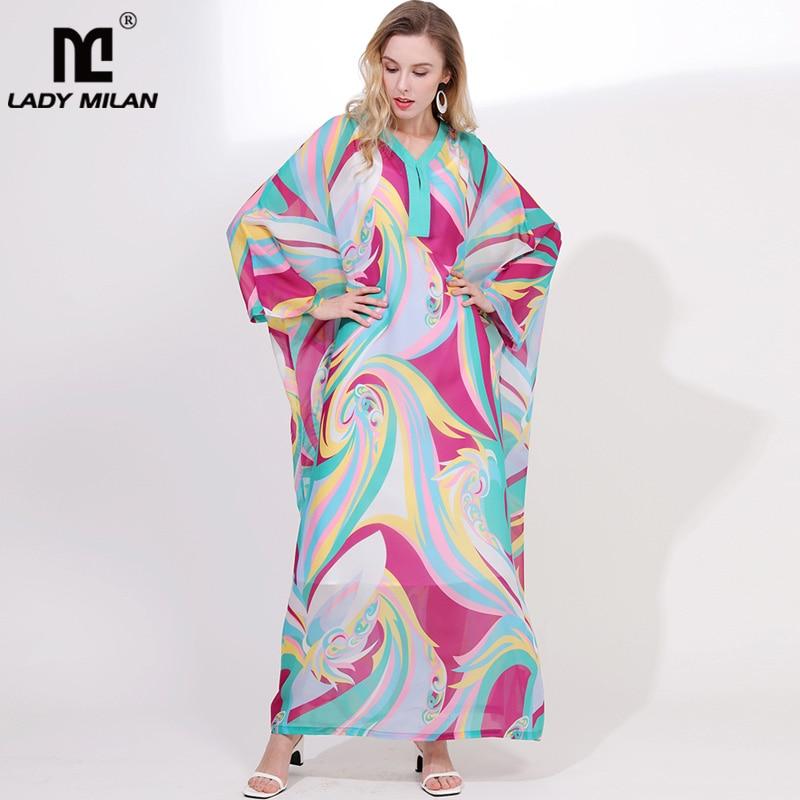 Lady Milan Women s 2019 Runway Dresses V Neck Long Sleeves Loose Design Batwing Sleeves Printed