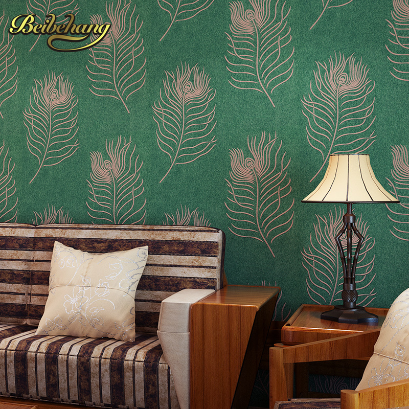 beibehang wall paper peacock feathers exotic Southeast thicker non-woven wallpaper for living room TV backdrop 3D wallpaper roll