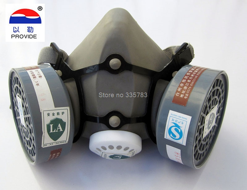Double can gas mask respirator spraying silica gel mask carbon gray filter mask bag damask silica gel mold
